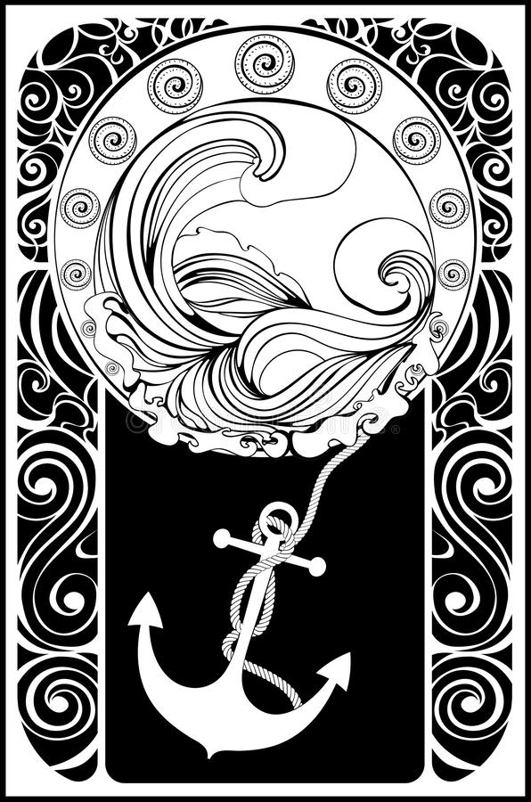 Cartel tempestuoso retro del mar stock de ilustración