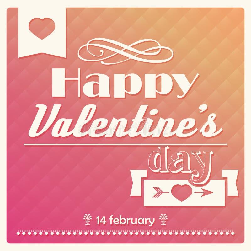 Cartel tipográfico del día feliz de la tarjeta del día de San Valentín s stock de ilustración
