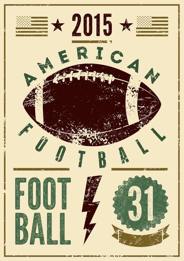 Cartel tipográfico del estilo del grunge del vintage del fútbol americano Ilustración retra del vector ilustración del vector