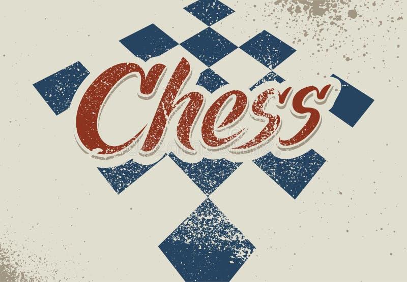 Cartel tipográfico del estilo del grunge del vintage del ajedrez Ilustración retra del vector ilustración del vector