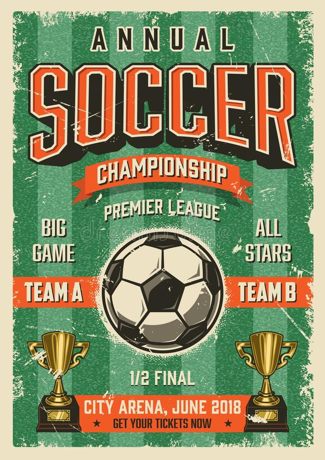 Cartel tipográfico del estilo del grunge del vintage del fútbol ilustración del vector