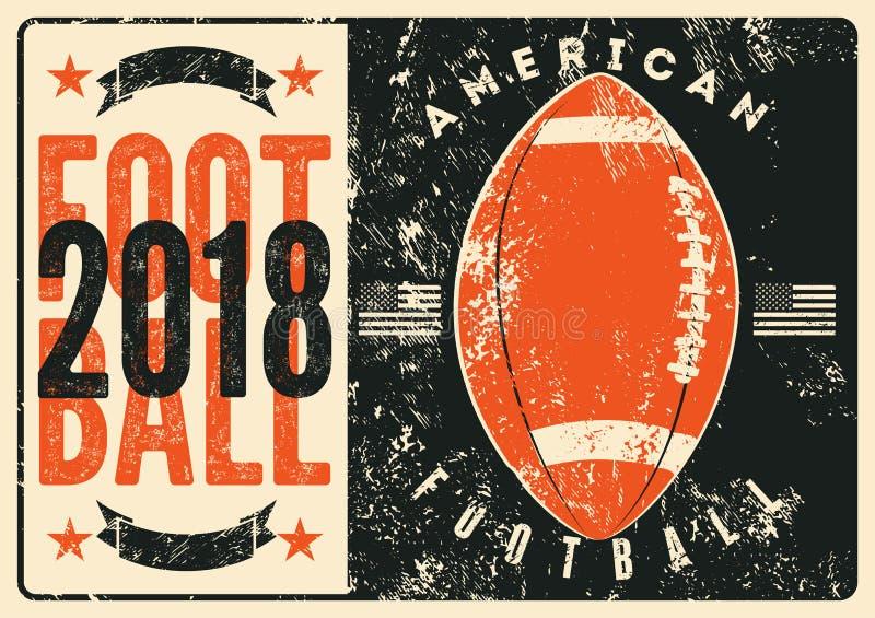 Cartel tipográfico del estilo del grunge del vintage del fútbol americano Ilustración retra del vector stock de ilustración