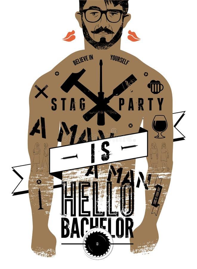 ¡Cartel tipográfico para el soltero del partido de macho hola! con el cuerpo tatuado de un hombre Ilustración del vector libre illustration