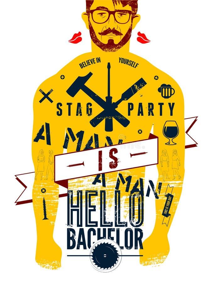 ¡Cartel tipográfico para el soltero del partido de macho hola! con el cuerpo tatuado de un hombre Ilustración del vector ilustración del vector