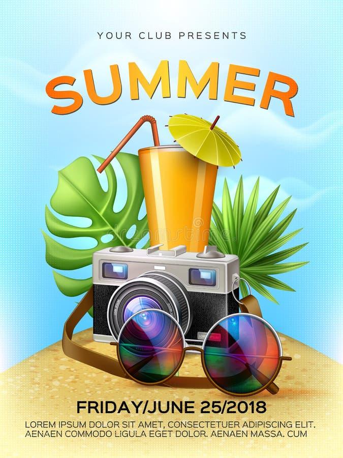 Cartel tropical del cóctel del club del verano del vector ilustración del vector