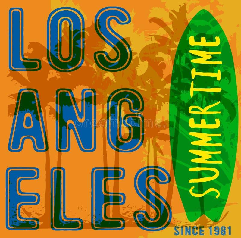 Cartel tropical Los Ángeles del verano stock de ilustración
