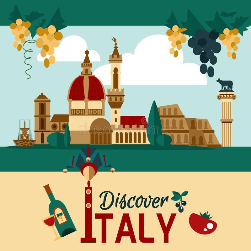 Cartel turístico de Italia stock de ilustración