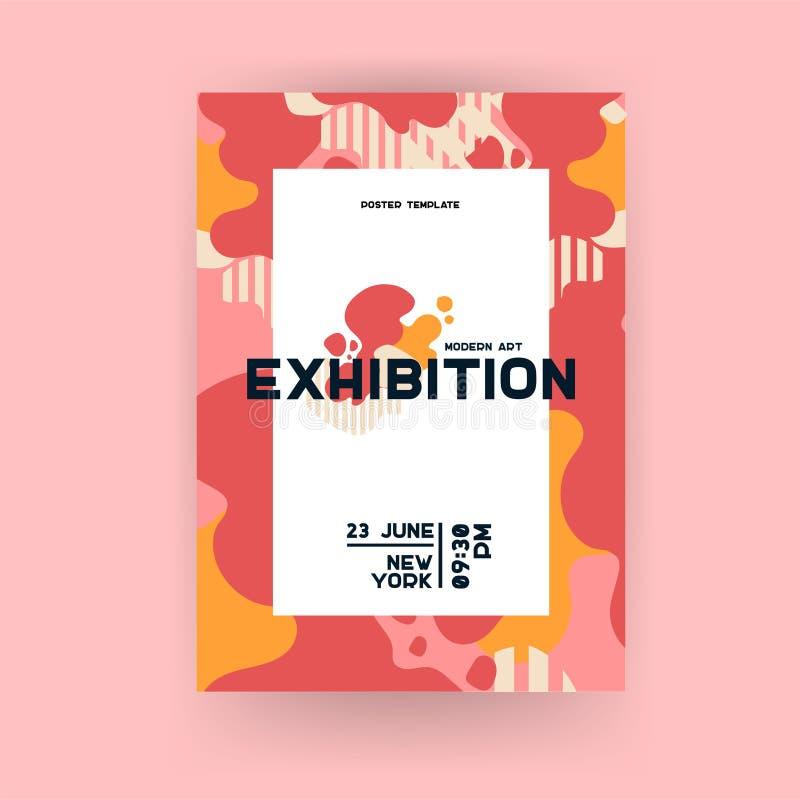 Cartel universal creativo del arte Modelo geométrico de la onda Elementos del gráfico de la galería o de la exposición libre illustration