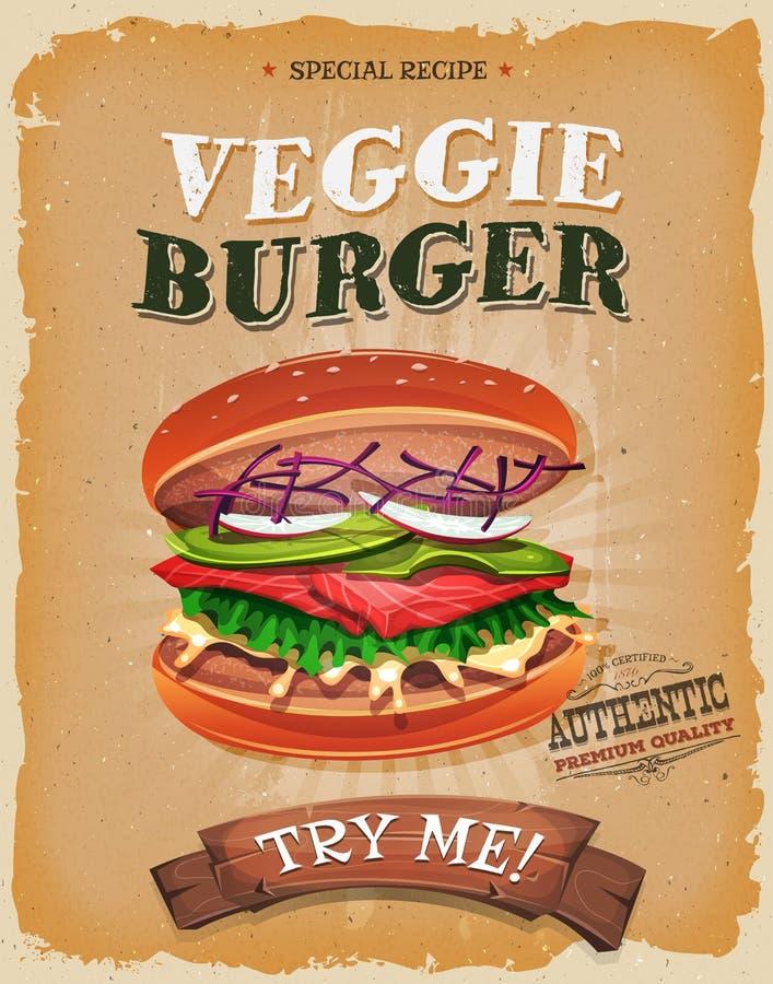 Cartel vegetariano de la hamburguesa del Grunge y del vintage stock de ilustración