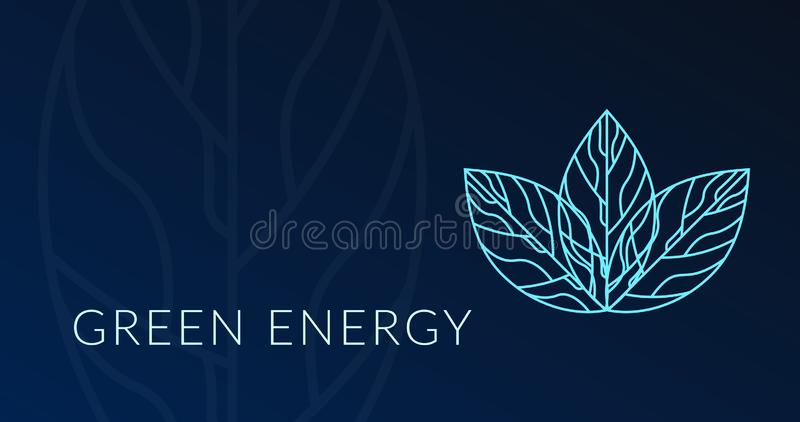 Cartel verde de la energía con el logotipo del holograma de la hoja ilustración del vector