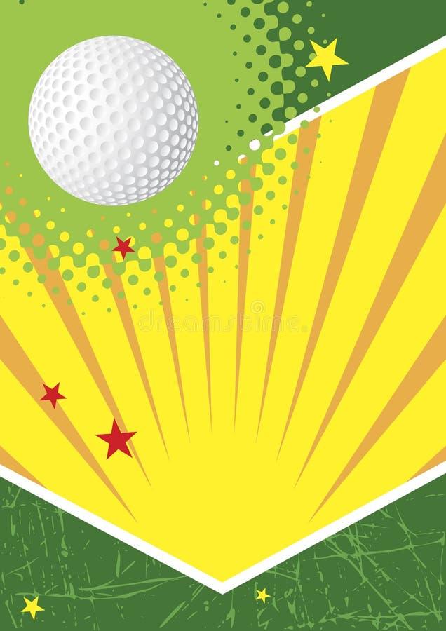 Cartel verde del golf con las estrellas y el sol libre illustration