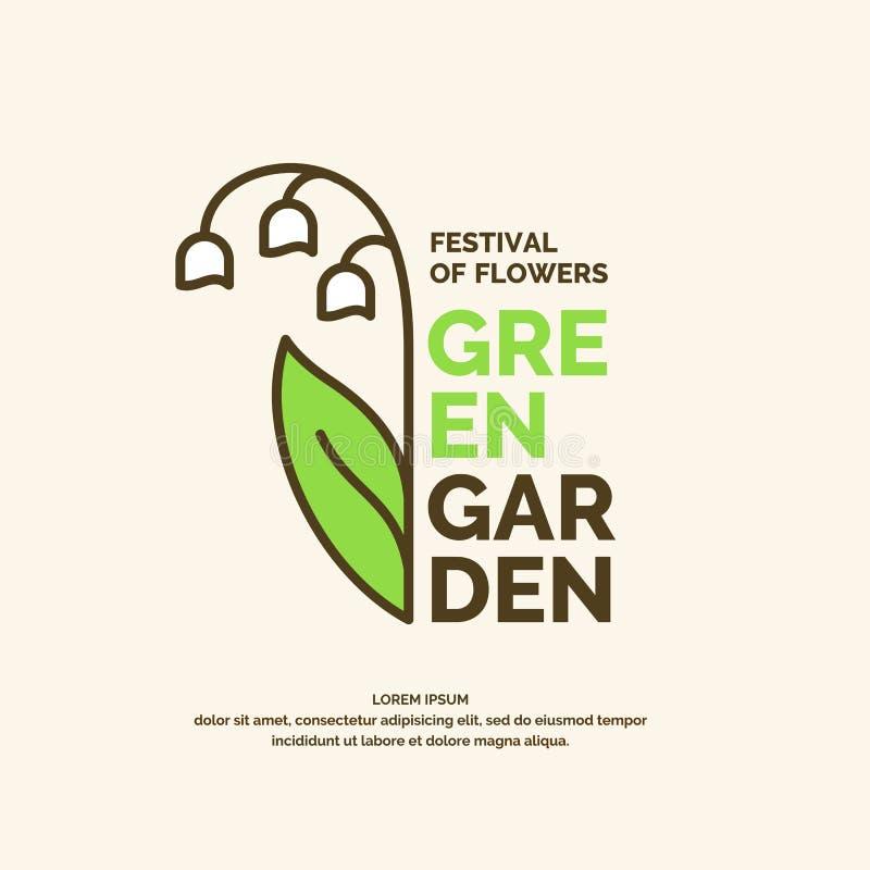 Cartel verde del jardín Ejemplo para el festival de flores stock de ilustración