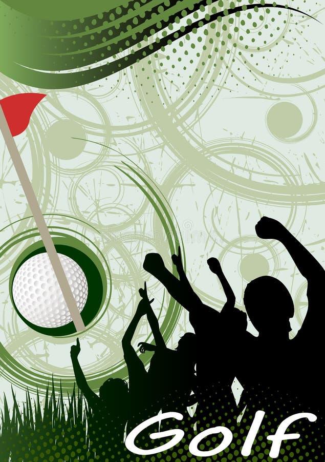 Cartel vertical abstracto del golf Espiral verde del golf stock de ilustración