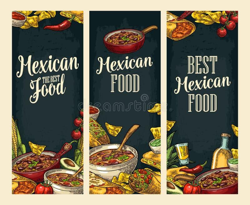 Cartel vertical con la comida y el ingrediente tradicionales mexicanos ilustración del vector