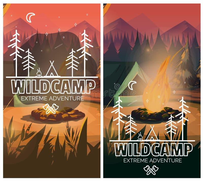 Cartel vertical del fondo que acampa con con la tienda, la hoguera, las montañas y el bosque en fondo Ilustración del vector ilustración del vector
