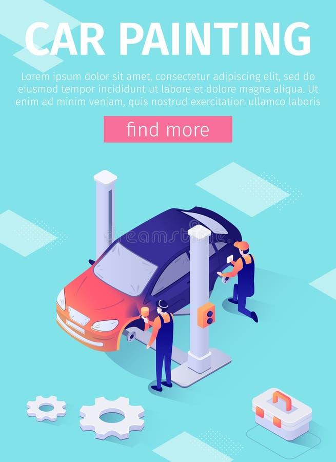 Cartel vertical para el servicio de pintura del coche en línea ilustración del vector