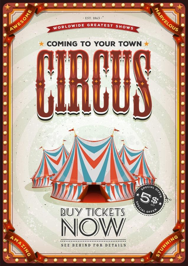 Cartel viejo del circo del vintage ilustración del vector