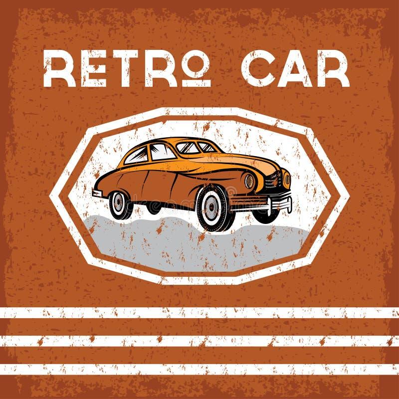 cartel viejo del grunge del vintage del coche libre illustration