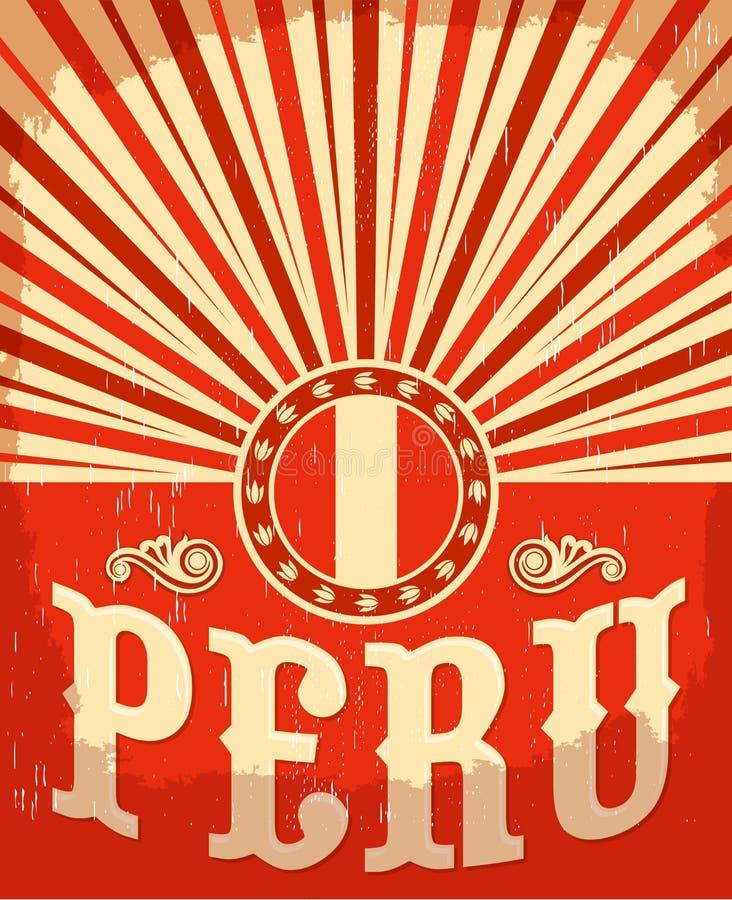 Cartel viejo del vintage de Perú con colores peruanos de la bandera ilustración del vector
