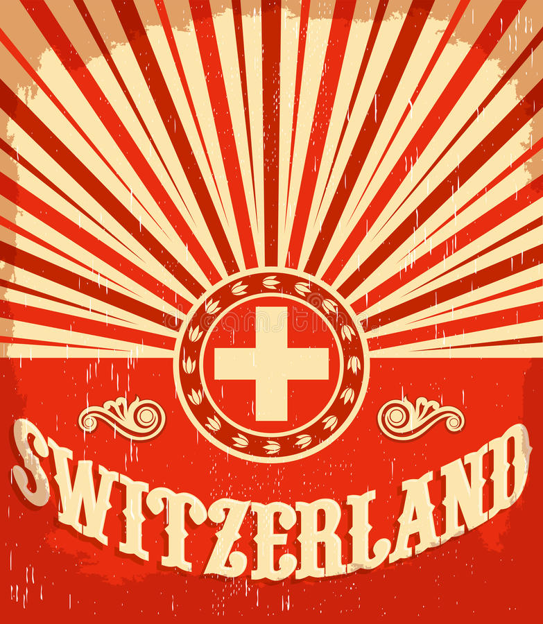 Cartel viejo del vintage de Suiza con colores suizos de la bandera stock de ilustración