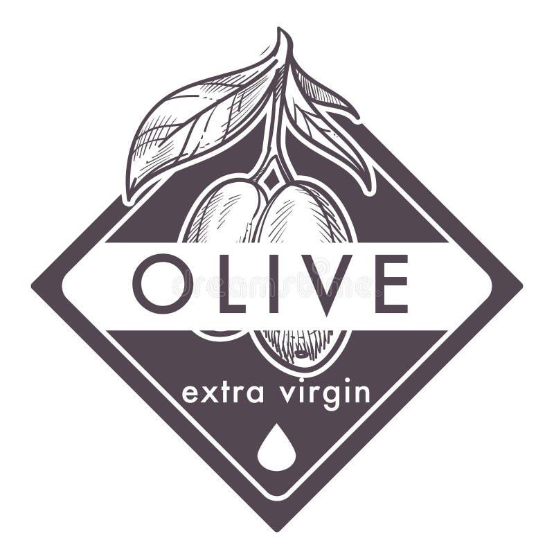 Cartel virginal del aceite de oliva, monocromático adicional del esquema del bosquejo stock de ilustración
