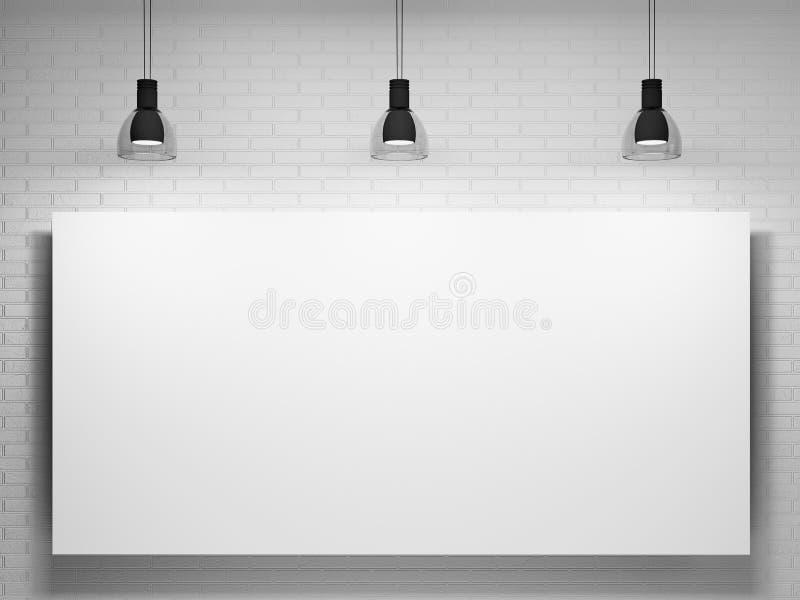 Cartel y lámparas sobre la pared de ladrillo stock de ilustración