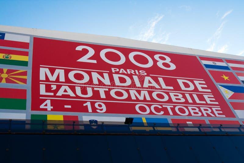 Cartelera 2008 de la demostración de motor de París foto de archivo libre de regalías