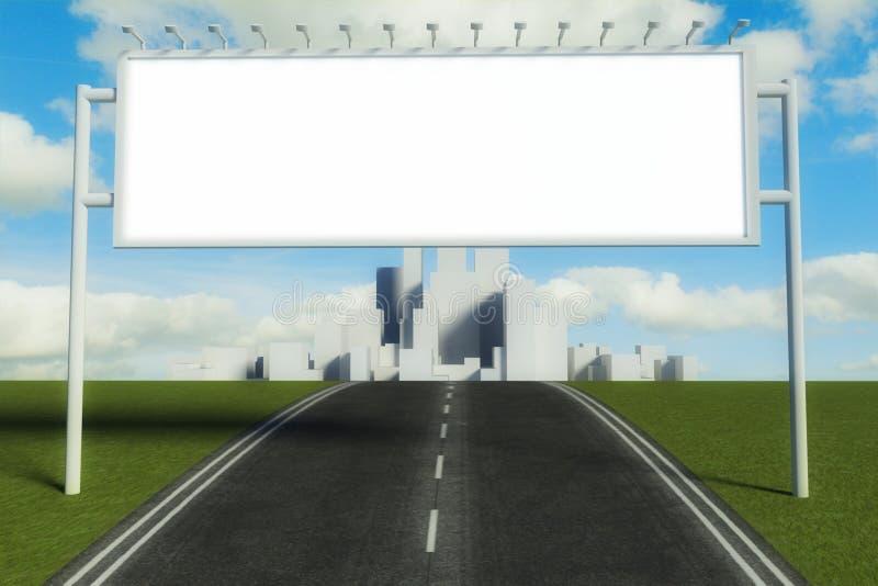 cartelera 3d y camino con el fondo de la ciudad ilustración del vector