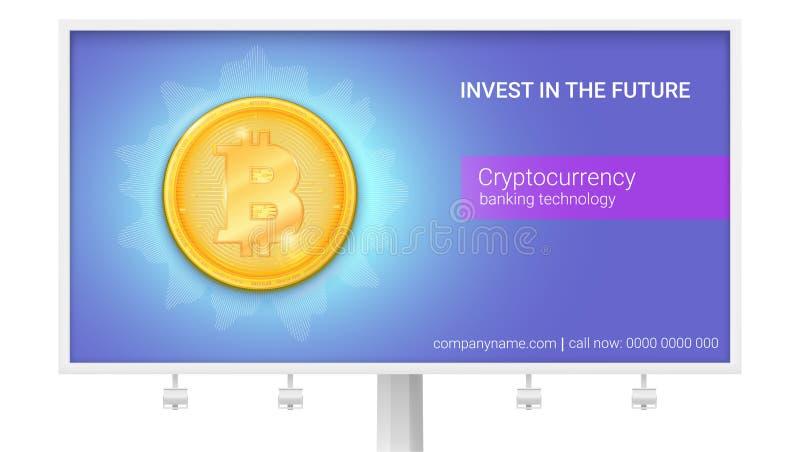 Cartelera con el anuncio de la moneda virtual Bitcoin Icono de la moneda digital de oro Diseño de bandera con tecnología stock de ilustración