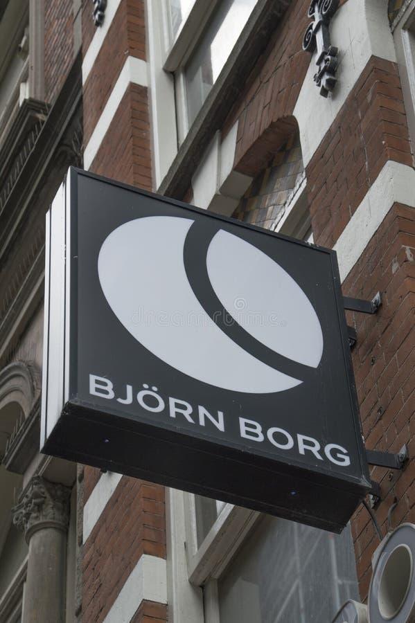 Cartelera de Bjorn Borg Store At Amsterdam el 2018 holandés imagen de archivo