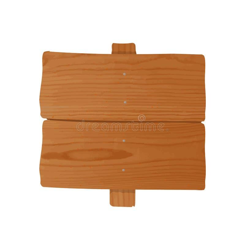 Cartelera de madera Handcrafted hecha de tablones toscos y del polo clavados junto Letrero o poste indicador vacío aislado encend ilustración del vector