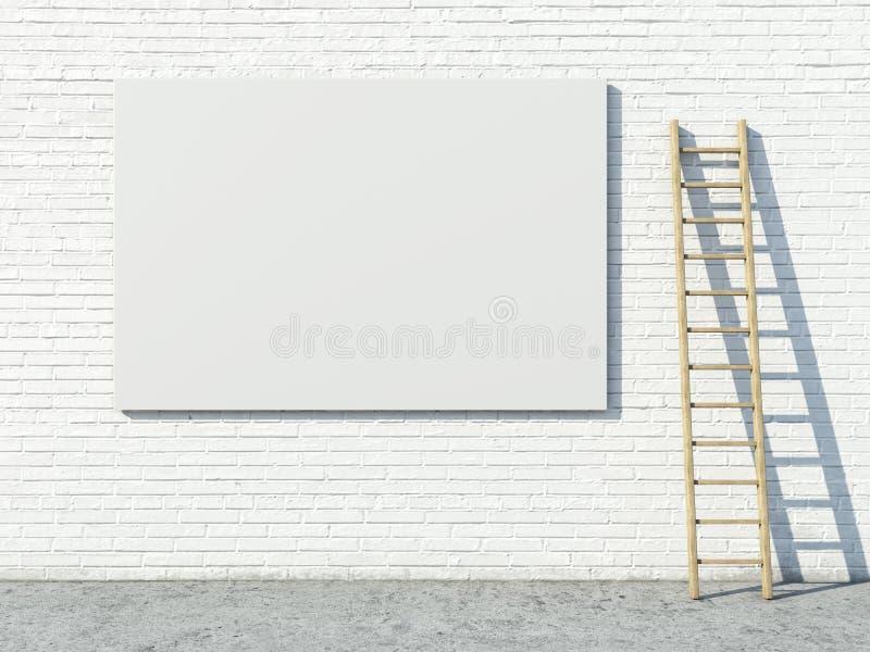 Cartelera de publicidad en blanco de la calle en la pared de ladrillo libre illustration