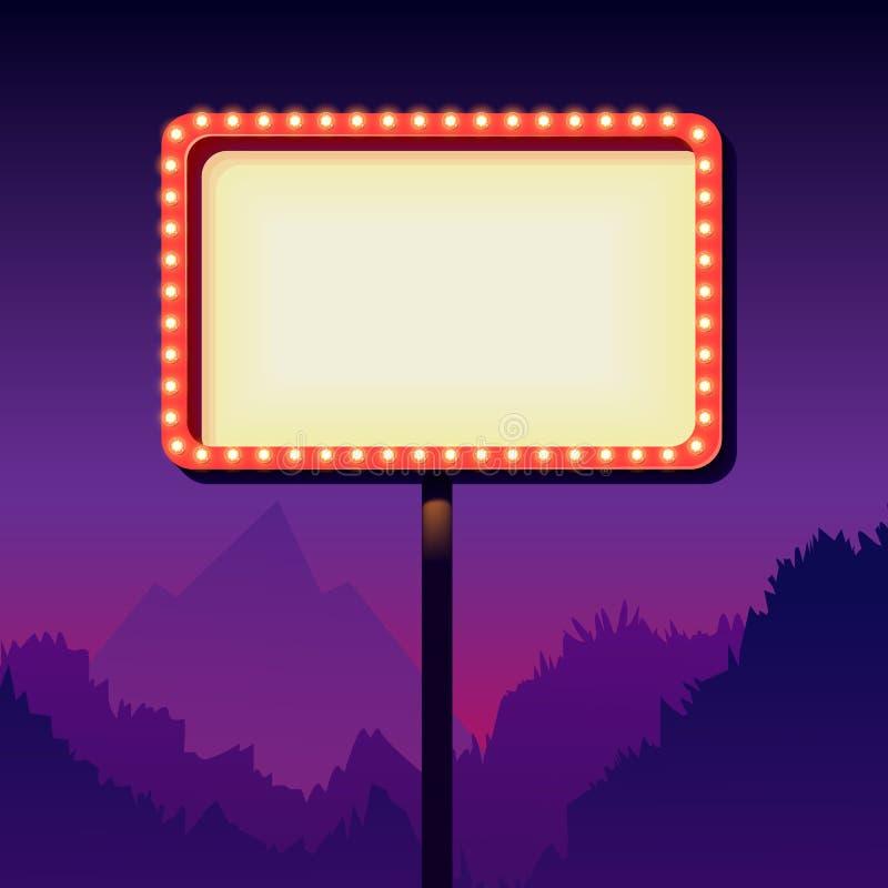 Cartelera del camino de la publicidad del vintage con las luces Muestra retra 3d libre illustration