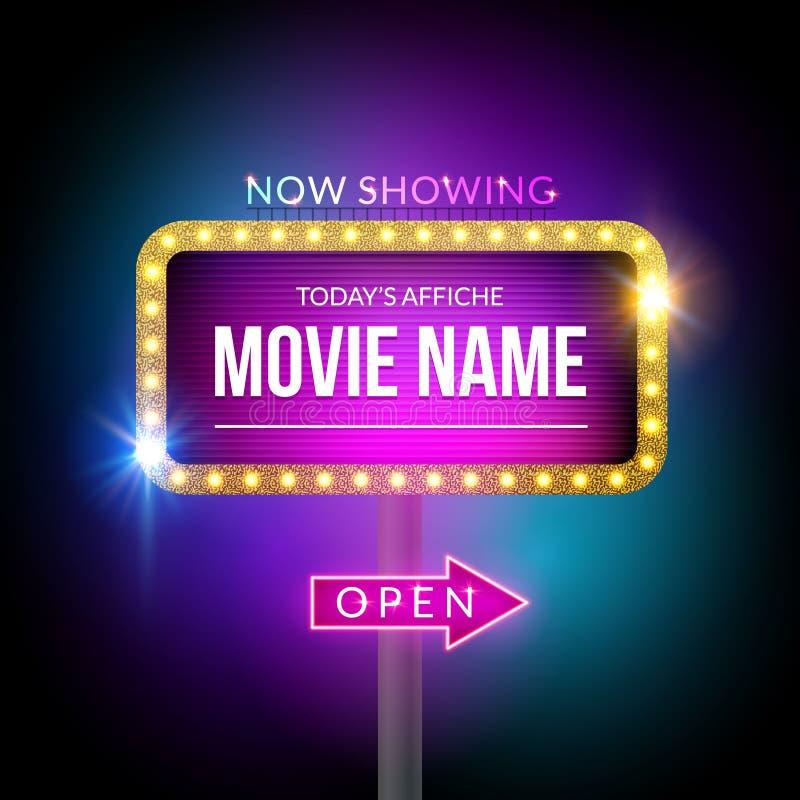 Cartelera del cine ahora que muestra Muestra del vector para el teatro con las luces Decoración brillante de la bandera stock de ilustración