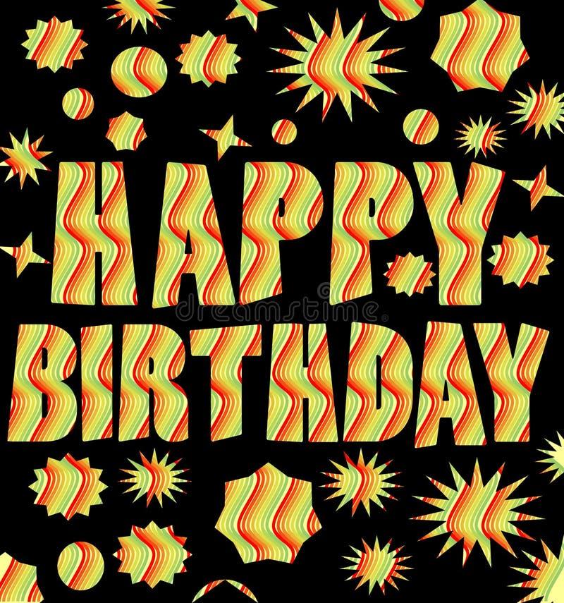 Cartelera del feliz cumpleaños con la inscripción multicolora del grunge ilustración del vector
