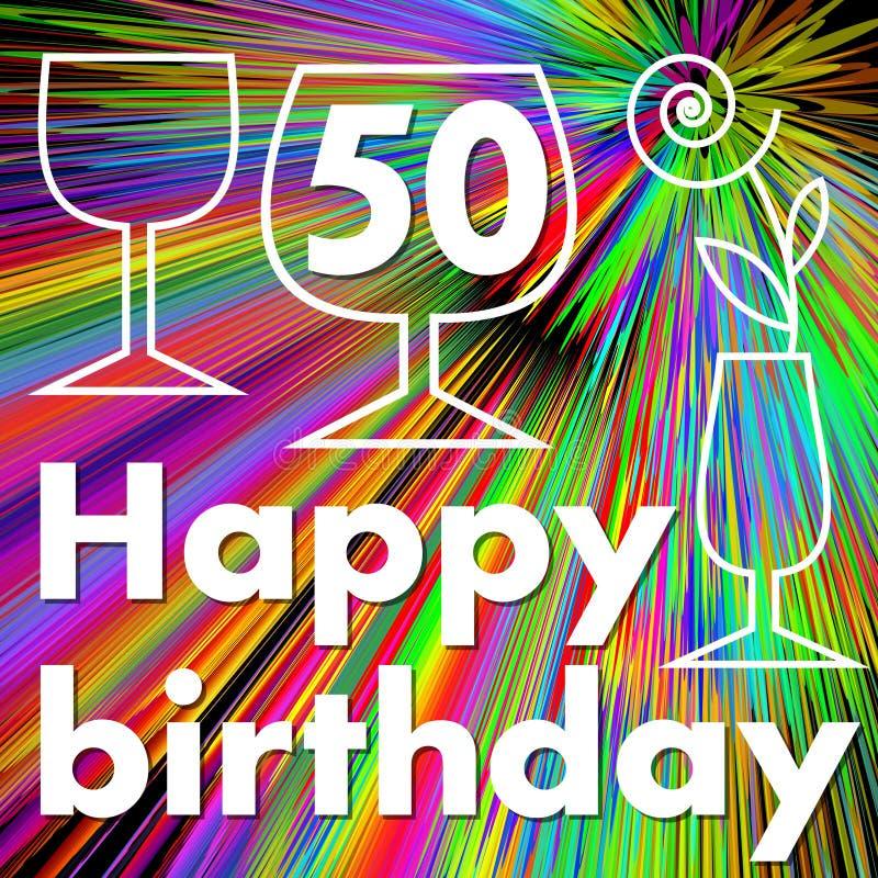 Cartelera del feliz cumpleaños con las copas de vino en fondo psicodélico del arco iris Dibujo de Monoline en fondo colorido La F libre illustration