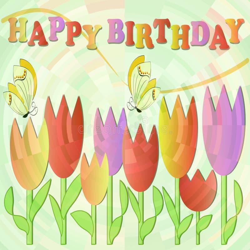 Cartelera del feliz cumpleaños con los tulipanes y las mariposas multicolores alegres stock de ilustración