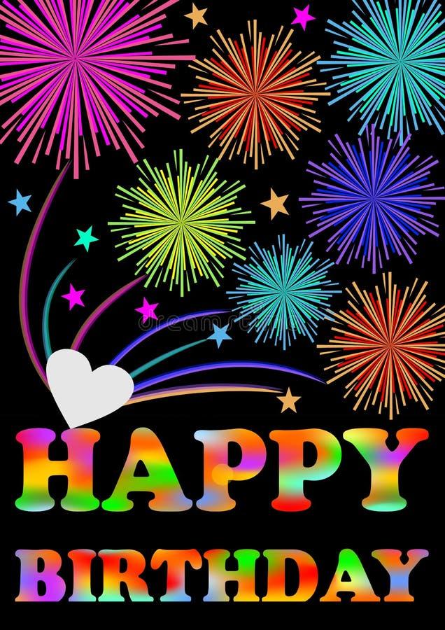 Cartelera del feliz cumpleaños Fuego artificial sobre la inscripción del feliz cumpleaños ilustración del vector