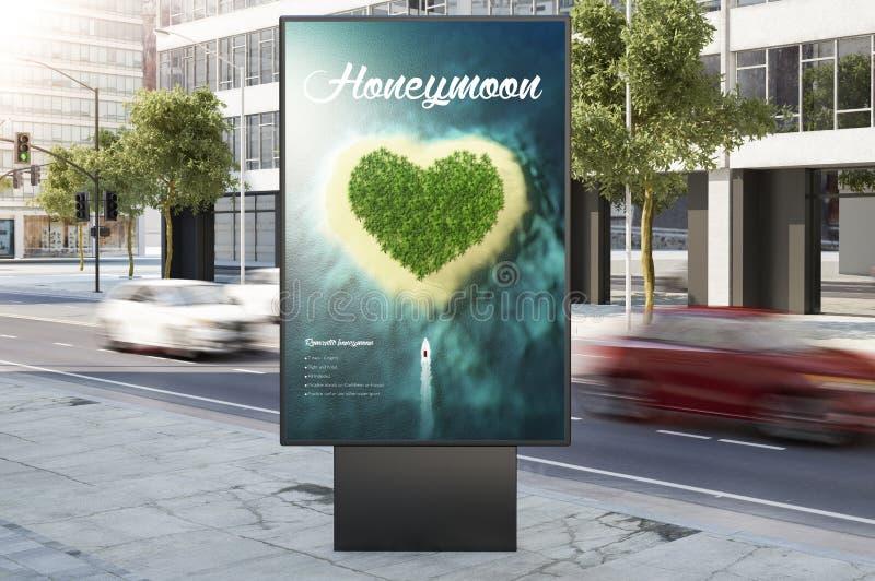 cartelera del márketing del anuncio de la luna de la miel en la calle de la ciudad fotos de archivo libres de regalías