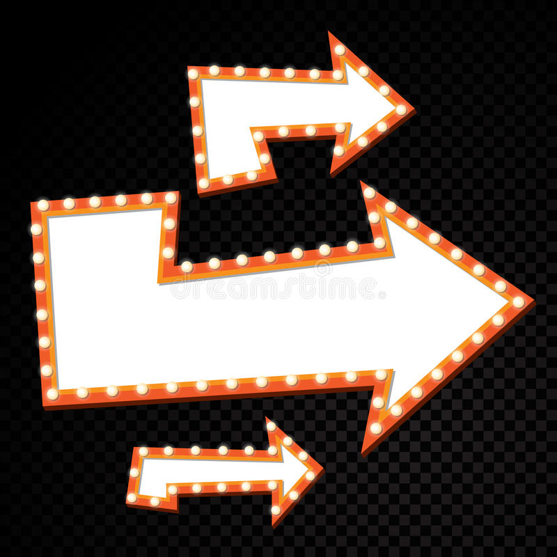 Cartelera eléctrica de los bulbos Marcos retros de la luz de la flecha Ilustración del vector ilustración del vector
