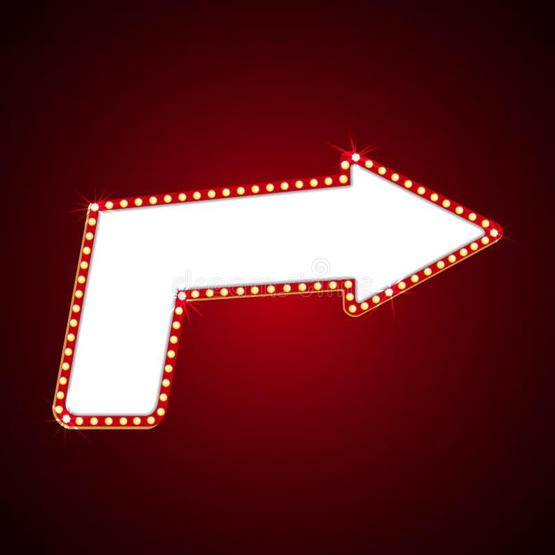 Cartelera eléctrica de los bulbos Marcos retros de la luz de la flecha Ilustración del vector stock de ilustración