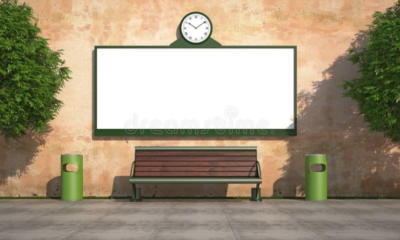 Cartelera en blanco de la calle en la pared del grunge ilustración del vector