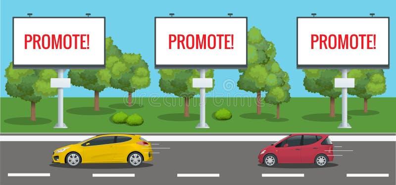 Cartelera en blanco grande, cartel, tablero, plantilla de la bandera con paisaje urbano Bandera promocional grande con los coches libre illustration
