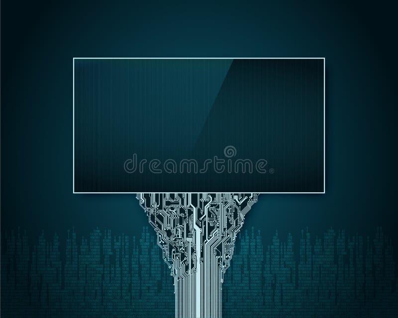 Cartelera futurista abstracta con una ayuda en una placa de circuito impresa en el fondo de la ciudad digital ilustración del vector