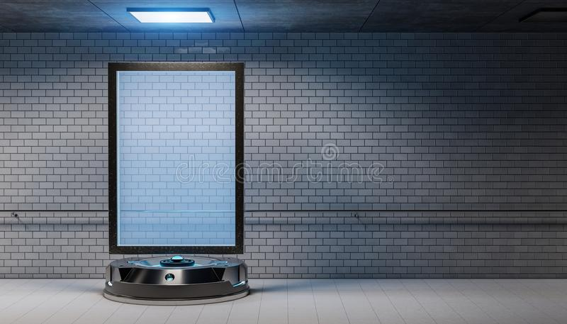 Cartelera futurista en la maqueta subterráneo sucia 3d de la estación de metro stock de ilustración
