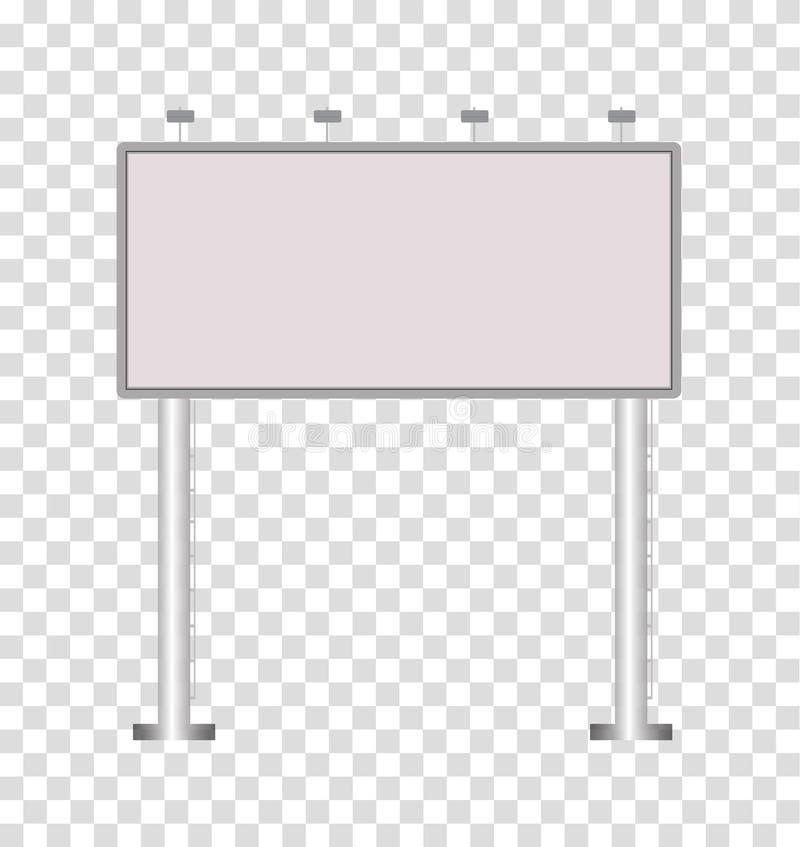 Cartelera grande en blanco en fondo transparente Bil al aire libre en blanco ilustración del vector