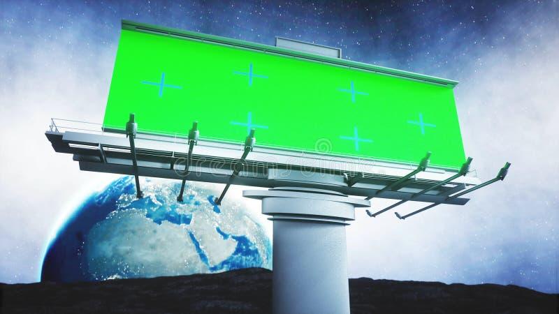 Cartelera grande en la luna Fondo de la tierra representación 3d stock de ilustración