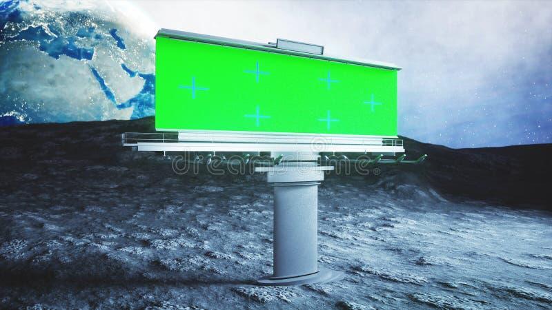 Cartelera grande en la luna Fondo de la tierra representación 3d fotos de archivo
