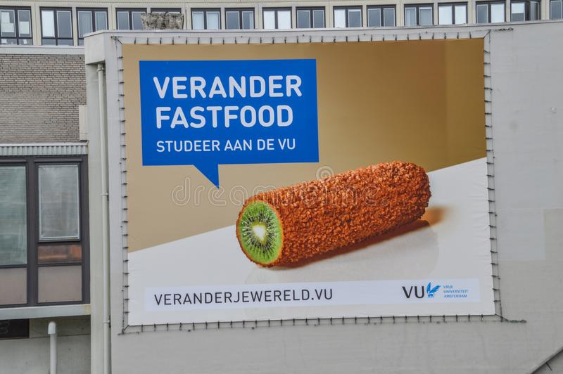 Cartelera para sano comiendo en el VU Amsterdam los Países Bajos imágenes de archivo libres de regalías