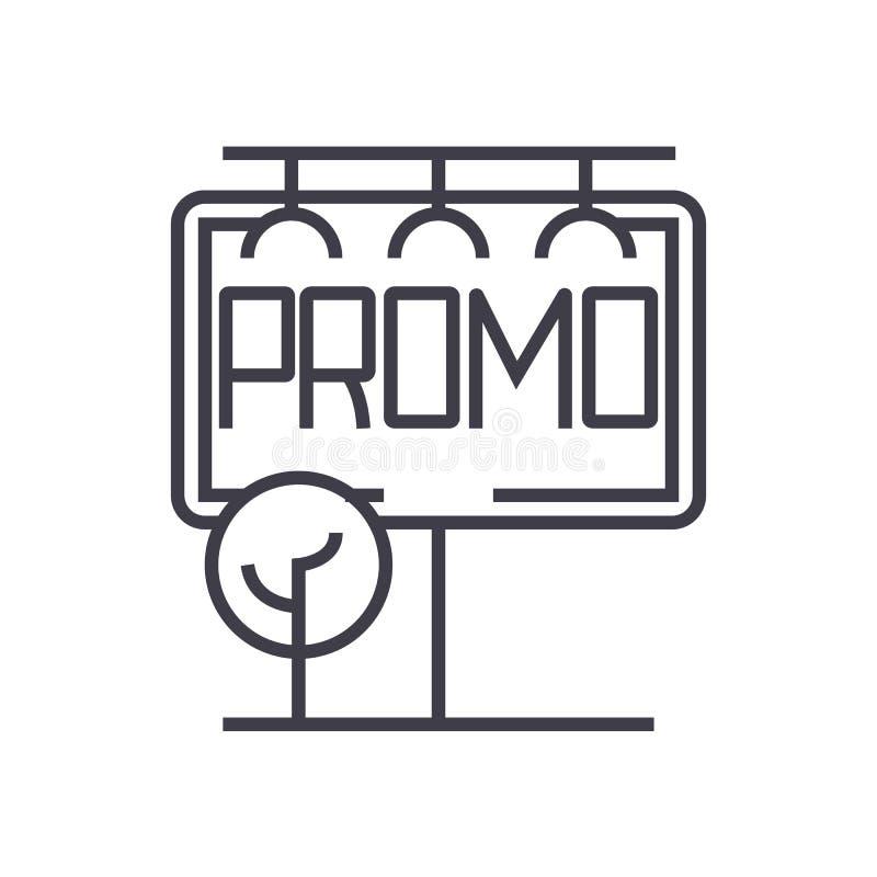 Cartelera, publicidad, línea horizontal grande icono, muestra, ejemplo del vector del promo en el fondo, movimientos editable libre illustration